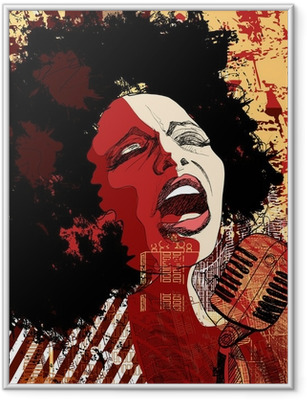 Poster en cadre Chanteuse de jazz sur le fond grunge