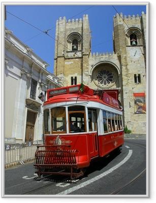Lisbon punainen raitiovaunu Kehystetty juliste