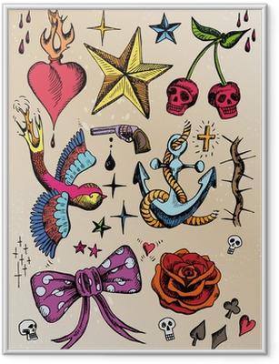 Poster in Cornice Modelli di rockabilly tatuaggio colorato