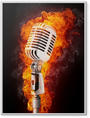 Microphone in Fire Framed Poster