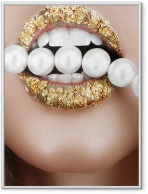 Gerahmtes Poster Blattgold Mund mit Perlen