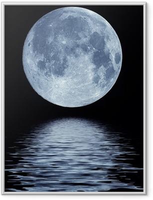 Full moon over water Framed Poster