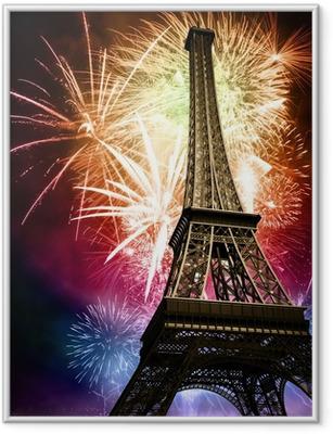 Plakat w ramie Wieża Eiffla z fajerwerkami
