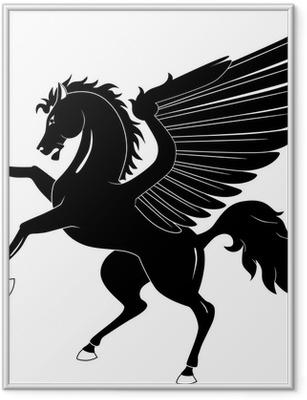Black Pegasus on white background Framed Poster