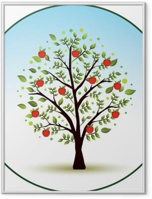 Beautiful vector apple tree Framed Poster