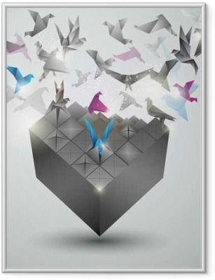 Metamorphosis.Cube is transforming into a flock of birds. Framed Poster