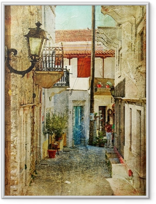 Póster Enmarcado Antiguos griegos calles-artístico imagen