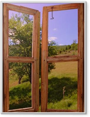 Póster Enmarcado Paisaje visto a través de una ventana