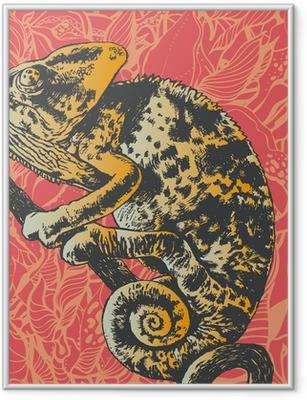 Poster en cadre Résumé fond floral avec caméléon