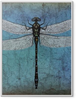 Ingelijste Poster Dragonfly grunge achtergrond