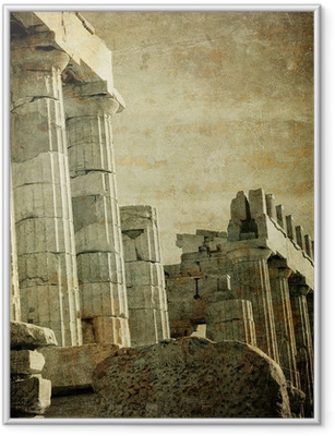 Póster com Moldura Vintage image of greek columns, Acropolis, Athens, Greece
