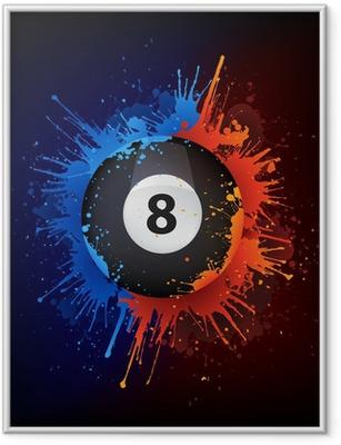 Sport_Billiard_Fire_Water_Paint_Vector_001 (4) .jpg Indrammet plakat