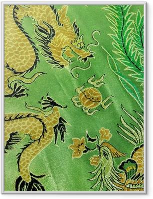 Gerahmtes Poster Drache und Phönix, chinesische Seidenstickerei