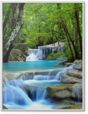 Plakat w ramie Erawan wodospad, Kanchanaburi, Tajlandia