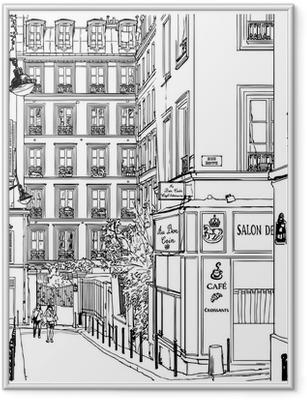 Ingelijste Poster Straat in de buurt van Montmartre in Parijs
