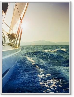 Plakat w ramie Jacht żaglowy przeciwko sunset.sailboat.sepia stonowanych