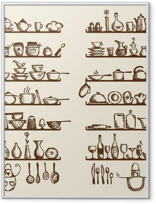 Kitchen utensils on shelves, sketch drawing for your design Framed Poster