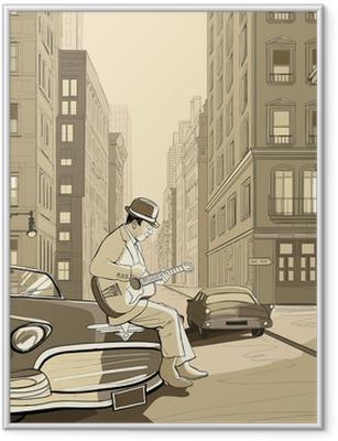 Gerahmtes Poster Gitarrist in einer alten Straße von New york