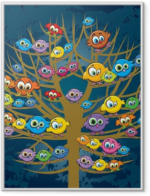 Funny birds and tree Framed Poster
