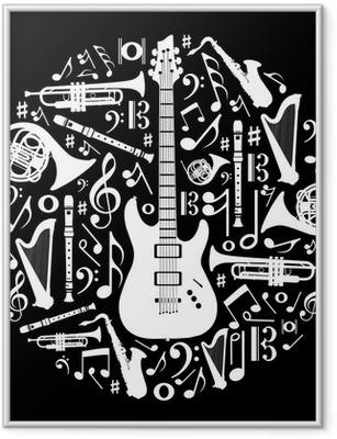 Póster Enmarcado Amor en blanco y negro para el concepto de la música de fondo ilustración