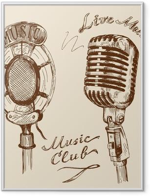 Póster Enmarcado Garabatos de época micrófono