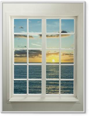 Poster in Cornice Finestra moderna residenziale con tramonto sul mare e le nuvole