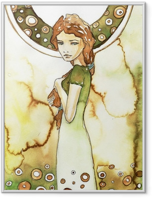 Plakat w ramie Piękna dziewczyna w zielonej secesji