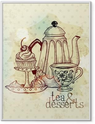 Gerahmtes Poster Tee und Desserts - Weinlese-Menü-Karte im Vektor