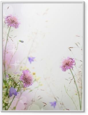 Plakat w ramie Piękne pastelowe kwiatów granicy - niewyraźne tło