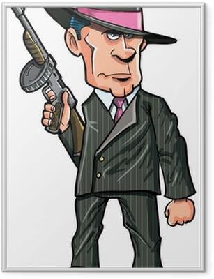 Ingelijste Poster Cartoon 1920 gangster met een machinegeweer