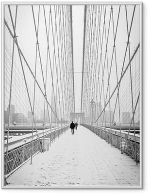 Poster en cadre Brooklyn Bridge - bianco e nero