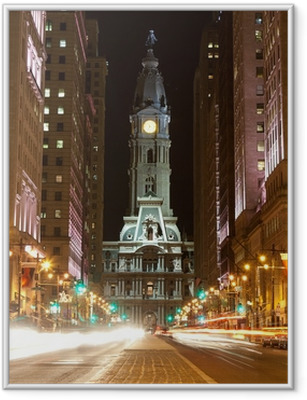 Philadelphia streets by night Framed Poster