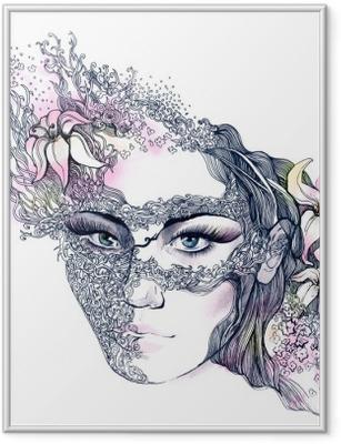 Póster com Moldura floral decorated face