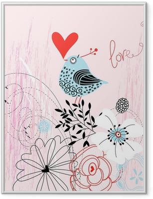 Gerahmtes Poster Liebe Vogel
