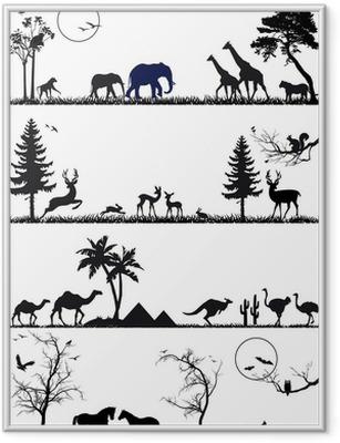 Innrammet plakat Dyreliv dyr bakgrunn sett, vektor