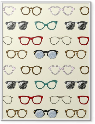 Plakat w ramie Powtarzalne z retro okulary i ramki