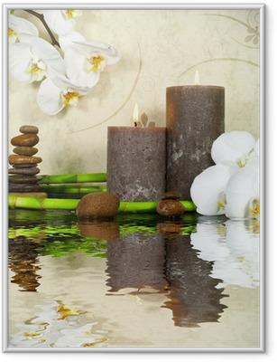 Poster i Ram Vit orkidé med bambu och ljus och sten