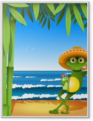 frog on the beach Framed Poster
