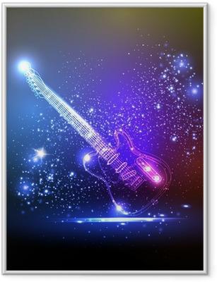 Poster in Cornice Neon chitarra luce, musica grunge