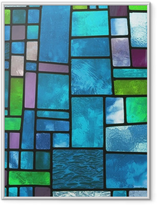 Multicolored stained blue glass window, square format Framed Poster