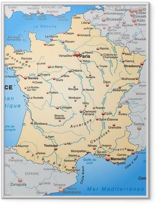 Ingelijste Poster Kaart van Frankrijk met de buurlanden in oranje