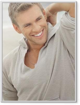 Mies malli hymy Kehystetty juliste