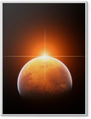 Gerahmtes Poster Planet Mars mit Rising Sun