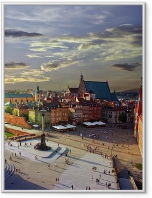 Póster com Moldura Warsaw castle square and sunset