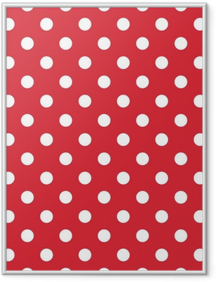 Red background retro seamless vector pattern polka dots Framed Poster