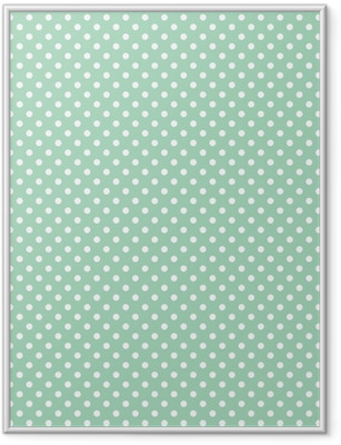 Polka dots on fresh mint background seamless vector pattern Framed Poster