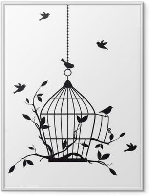 Poster in Cornice Uccelli liberi con gabbia aperta, vettore