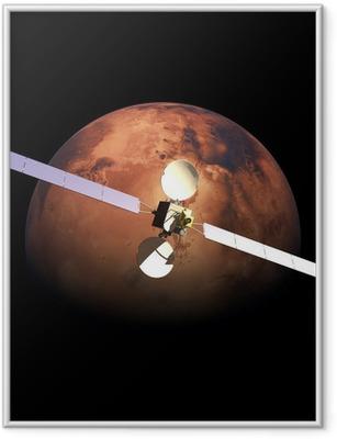 Poster i Ram Artificiell Probe orbiting ovanför röda planeten Mars