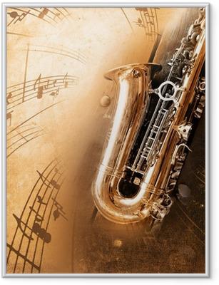 Gamle saxofon med snavset baggrund Indrammet plakat