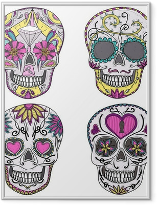 Mexican skull set. Colorful skulls with flower and heart ornamen Framed Poster